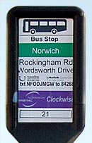 close-up of the Rockingham Road bus stop sign